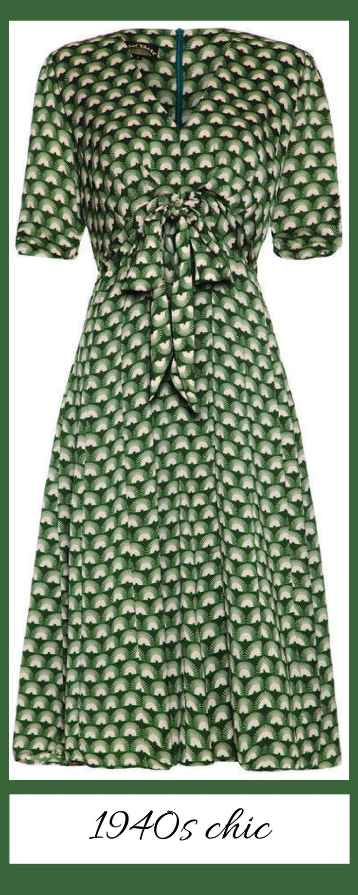 1940s dress - high waist - bow - geometric print - green - nice!