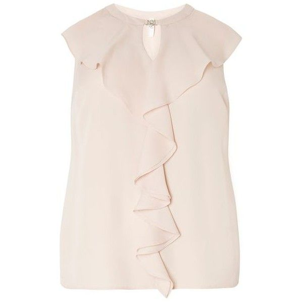 Ivory Frill Front Blouse ($50) ❤ liked on Polyvore featuring tops, blouses, ivory blouse, ruffle front top, ruffle front blouse, pink blouse and pink tops