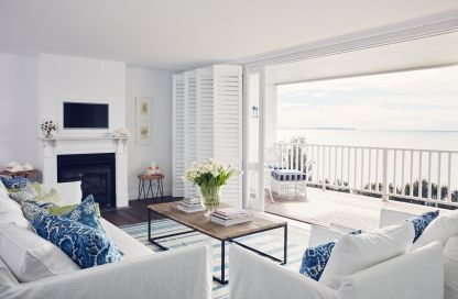 Inside the new hotel suites designed by Collette Dinnigan: The spacious living area of suite #29 boasts spectacular ocean views.