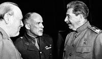 Winston Churchill and Soviet leader Joseph Stalin talk with an American general at the Potsdam Conference-Relations between the superpowers had worsened considerably since Yalta.  In March 1945, Stalin had invited the non-Communist Polish leaders to meet him, and arrested them.  Things had got so bad that, in May 1945, the British Joint Planing Group had drawn up plans for 'Operation Unthinkable' - a 'total war ... to impose our will upon Russia'.  Meanwhile, Rooevelt had died, and America…