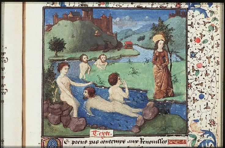 Latona turns four bathers into frogs for muddying the water she wishes to drink    ----The Hague, KB, 74 G 27 .  	 Christine de Pisan, L'Epistre d'Othea Place of origin, date:  Auvergne(?); c. 1450-1475       http://manuscripts.kb.nl/show/manuscript/74+G+27