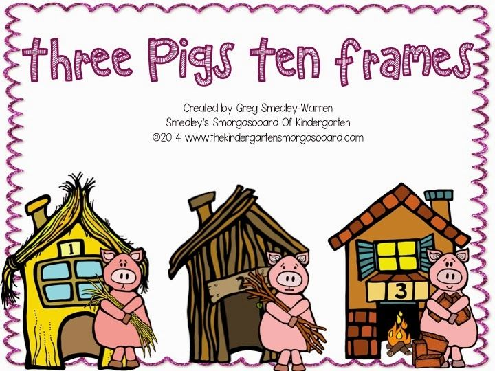 FREE!!  Three Pigs Ten frames!  Perfect for math centers and math tubs!