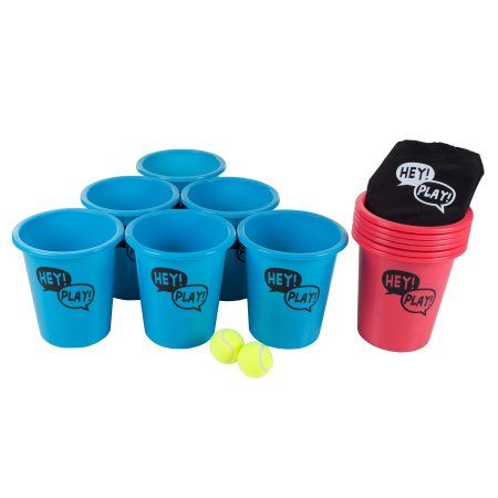 Bucket Ball Giant Beer Pong Outdoor Game Set for Kids and Adults with 12 Buckets, 2 Balls, Tote Bag by Hey! Play!, Blue