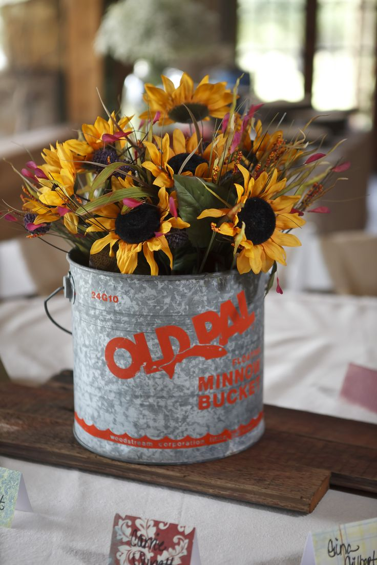 Minnow bucket centerpiece with sunflowers