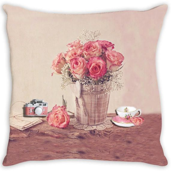 Throw Pillow. Beautiful Shabby Chic Vintage Floral Throw Pillow