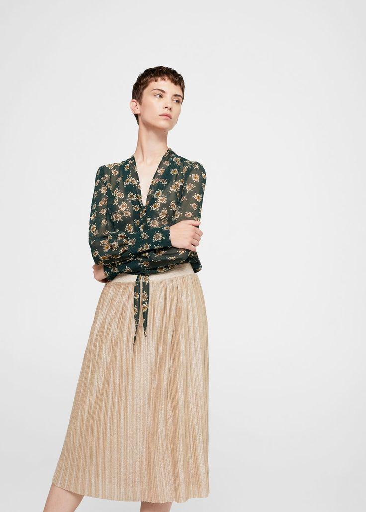 Jupe plissée métallisée - Femme | MANGO France