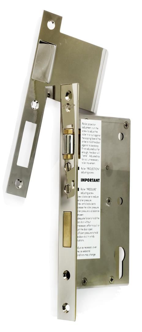 Roller latch with Euro lock system. Stainless steel body with excellent qualities for long service under severe conditions, seaside etc.Useful for locking pivot doors. #architecture #design #hardware