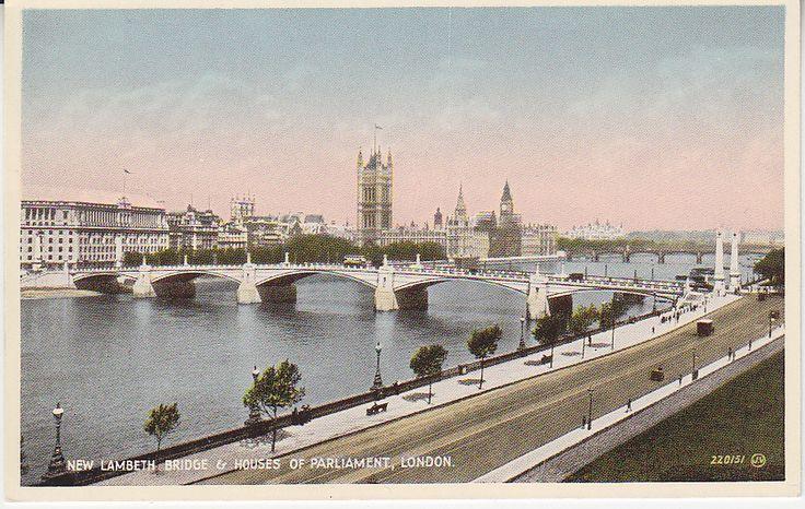 Valentines Postcard - New Lambeth Bridge and Houses of Parliament, London - 220131 - animated | PC02334