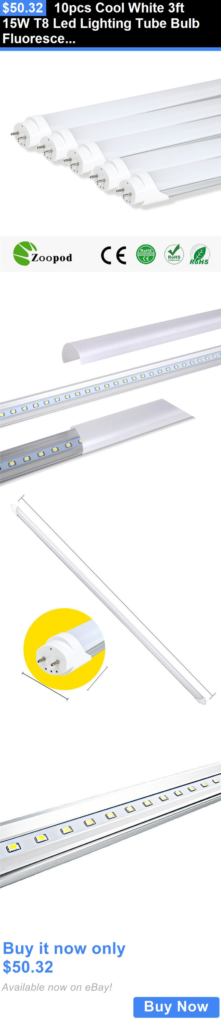 Lamps And Lighting: 10Pcs Cool White 3Ft 15W T8 Led Lighting Tube Bulb Fluorescent Light Replacement BUY IT NOW ONLY: $50.32
