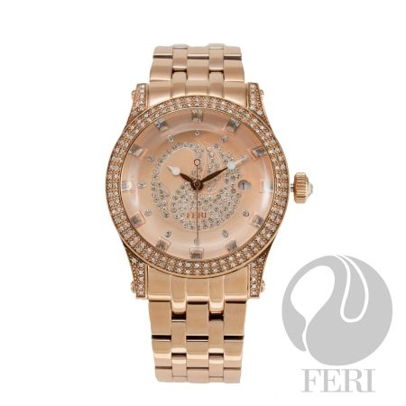 FERI Hollywood - City Lights Watch - Rose  - Rose gold plated steel metal construction - Cubic zirconia encrusted face - Displays date - Cubic zirconia inlaid in watch face - Large FERI Swan logo - K1 curved mineral crystal - Provides 5 ATM of water resistance - Features a swiss premium movement - 3 year limited manufacturer warranty - Hypoallergenic  - Face: 42mm x 42mm - Band Length: 200mm - Band Width: 22mm - Extra links available