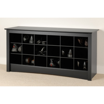 """16"""" deep shoe cubby/bench for my small foyer-- I'd make it large enough to for individual  shoe baskets"""
