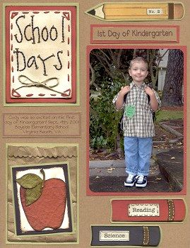 Creative Scrapbooking - page layout ideas for first day of school