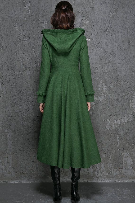 Womens Winter Coat Emerald Green Long Fitted Button by xiaolizi                                                                                                                                                                                 More