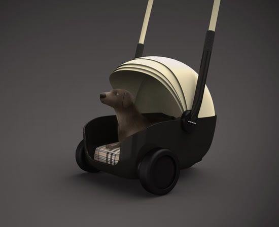poussette chien qui sert de niche en coque animaux. Black Bedroom Furniture Sets. Home Design Ideas