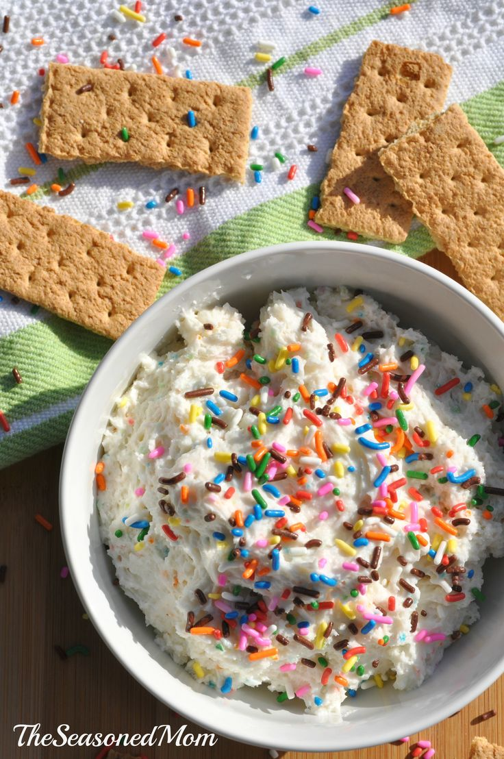 Lightened-Up Funfetti Cake Batter Dip on MyRecipeMagic.com: this is the perfect snack or party food for kids, but it's packed with Greek yogurt for some added protein and health benefits. The perfect combination of good for you and delicious!