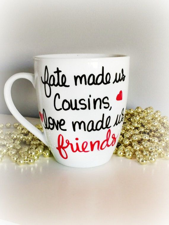 Cousins gift Hand Painted Mug gift for by Brusheswithaview on Etsy
