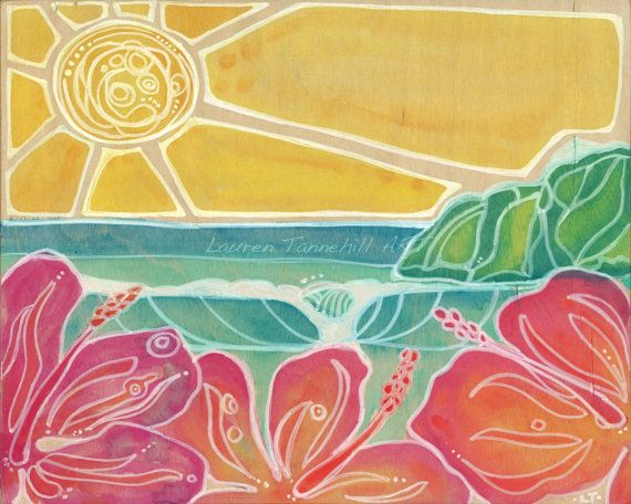 8x10 Giclee Print Hawaiian Style Nursery by laurentannehillART