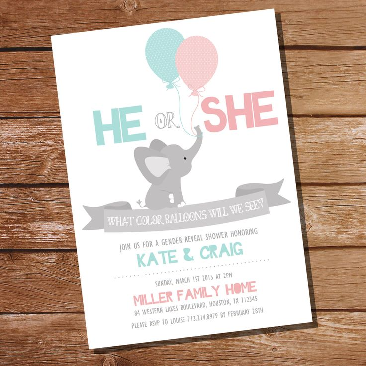 He or She Gender Reveal Party Invitation - Elephant Gender Reveal Party - Instant Download and Editable File - Personalize with Adobe Reader by SunshineParties on Etsy https://www.etsy.com/listing/218450318/he-or-she-gender-reveal-party-invitation