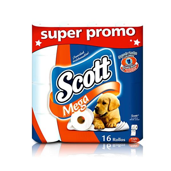 Papel higiénico Scott Mega SUPER PROMO, triple hoja x 16 Und