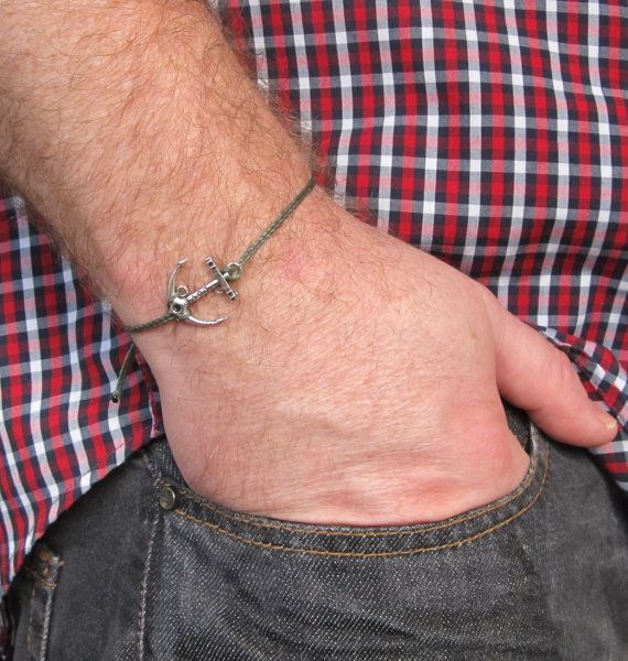 Anchor cord bracelet men's bracelet with a silver by MenFolk, $10.00
