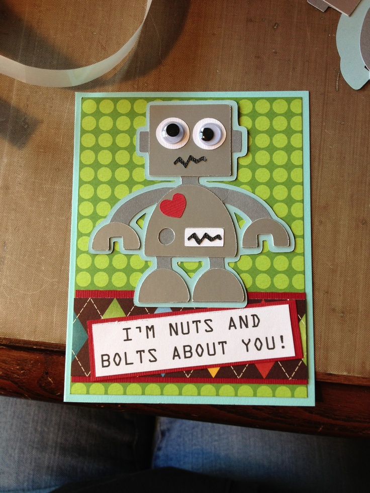 Cricut card. Boys will be boys cartridge. Valentine's day.