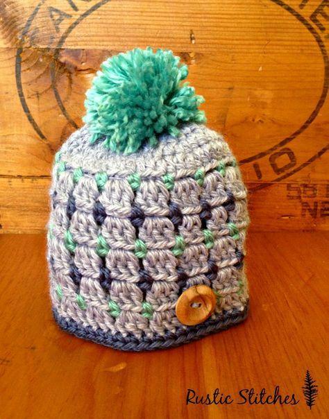 d601a5806de Crochet Block Stitch Newborn Hat - Free Pattern - Rustic Stitches ...