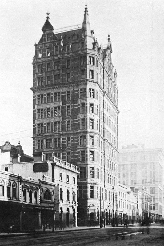The Australian Building, northwest corner of Elizabeth Street and Flinders Lane. Built in 1889 and demolished in 1980.