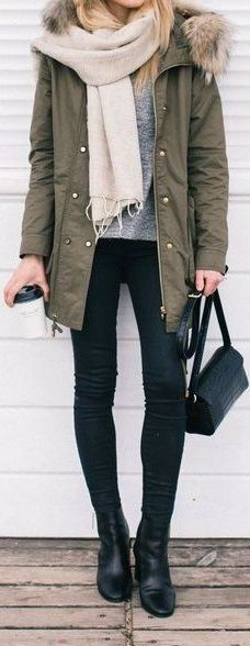 #Winter #Outfits / Light Beige Scarf + Military Jacket