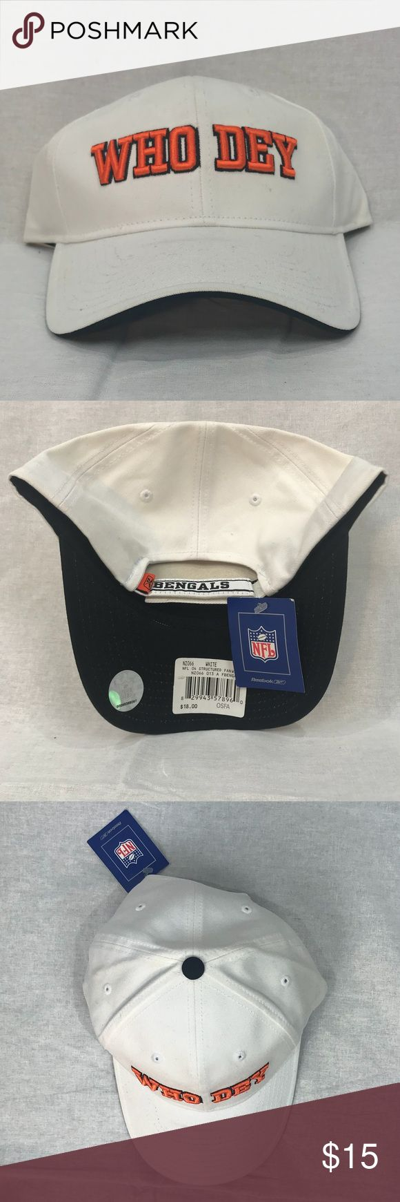 NWT NFL Cincinnati Bengals Cap NWT NFL Cincinnati Bengals Cap by Reebok. White with Orange letters. Adjustable. Official NFL gear. Show your pride! NFL Accessories Hats
