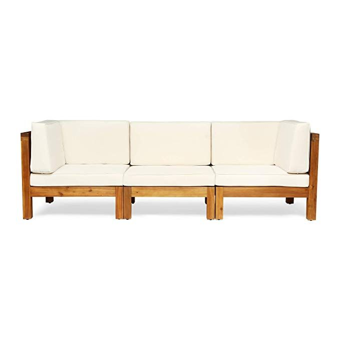 Amazon Com Great Deal Furniture Keith Outdoor Sectional Sofa Set 3 Seater Acacia Wood Water Resistant Cushions G Patio Sofa Wood Sofa Patio Sectional