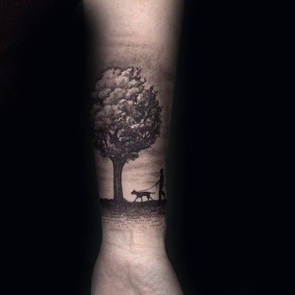 Man Walking Dog Under Tree Mens Forearm Tattoos