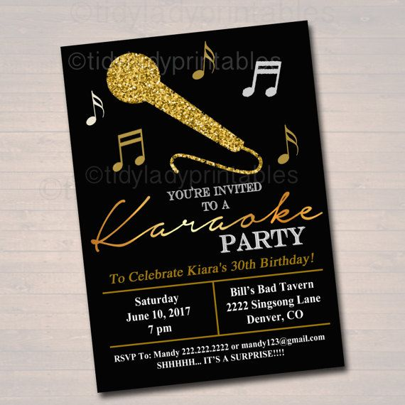 Personalized  karaoke birthday  party Invitation. Available at Boardman Printing.