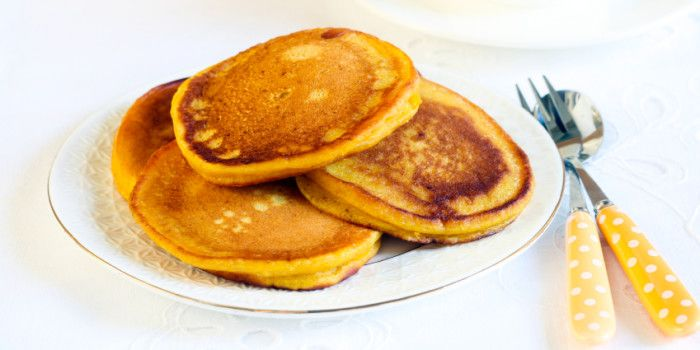 Serve up these simple Pumpkin Pikelets with grated apple, walnuts, extra cinnamon, and a drizzle of rice malt syrup, or with a spoon of chia jam.