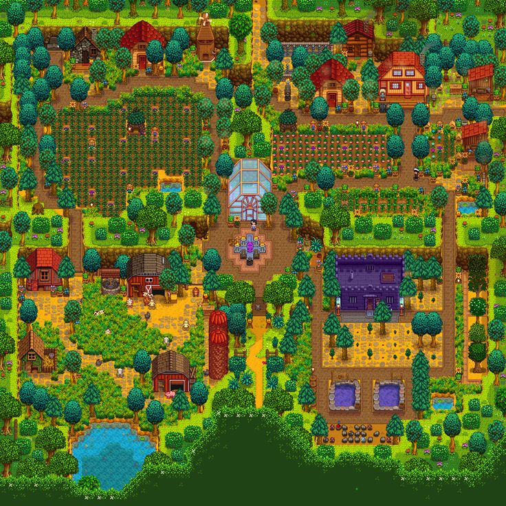 My First Attempt At Designing A Farm Ft My Bf For Moral Support Lmao Summer Year 3 And No Preplanning I M Stardew Valley Stardew Valley Layout Farm Layout