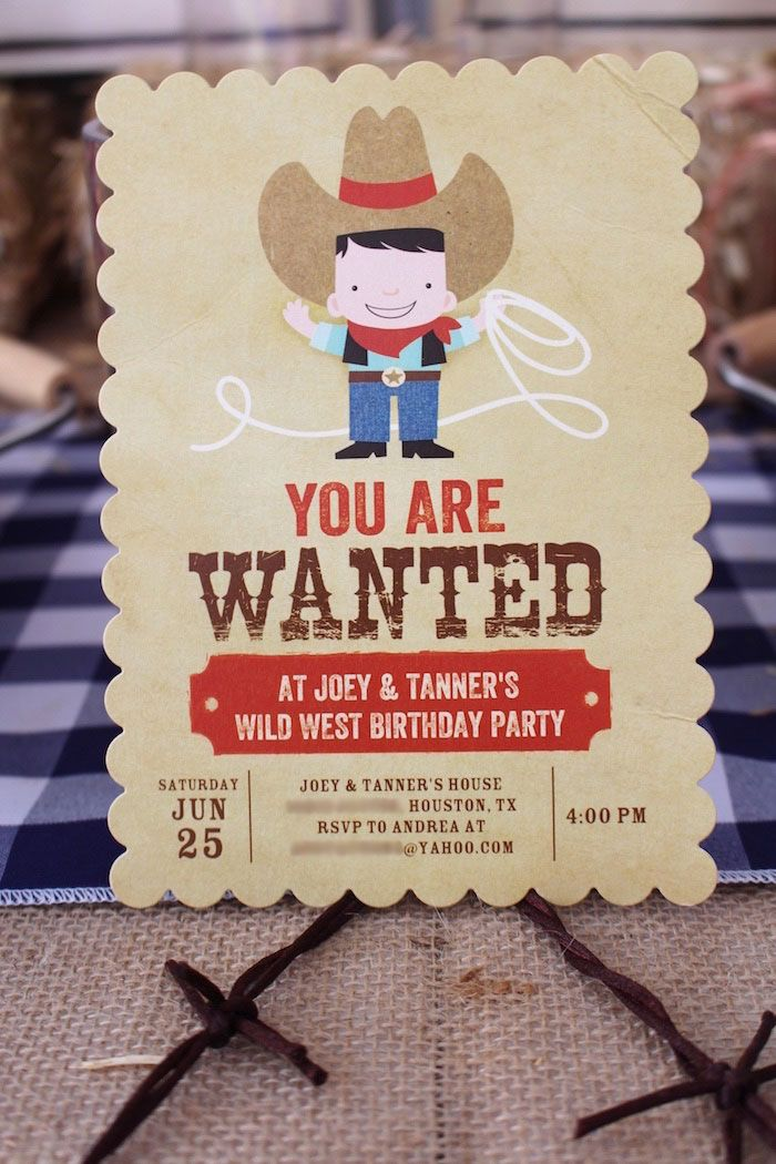 "Western ""Wanted"" Invitation from a Western Rodeo Birthday Party on Kara's Party Ideas 
