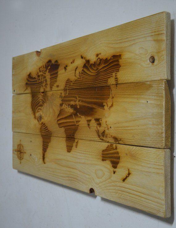 Mappa mondo in legno massello, decorazione rustica a