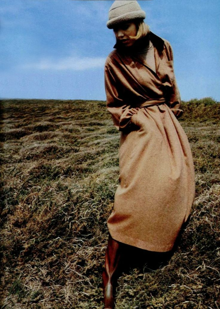 Dorothee Bis coat, boots by Bally, L'officiel magazine 1974