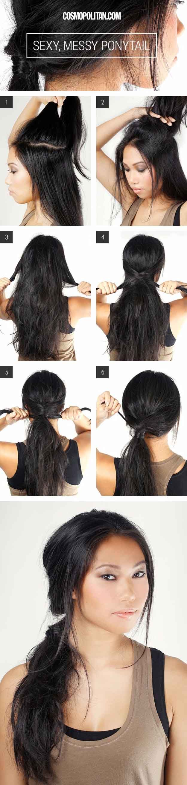 Glam Ponytail Tutorials - Sexy, Messy Ponytail- Simple Hairstyles and Pony Tails, Messy Buns, Dutch Braids and Top Knot Updo Looks - With and Without Bobby Pins - Awesome Looks for Short Hair and Girls with Curls - thegoddess.com/glam-ponytail-tutorials