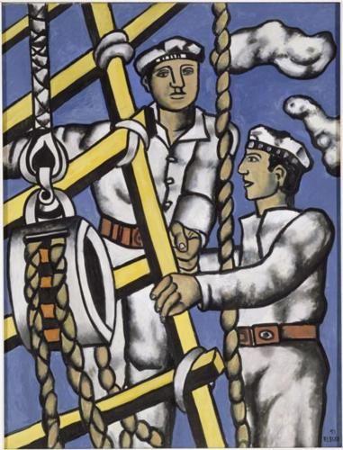 Fernand Leger (1881 - 1955)   Naïve Art (Primitivism)   Compositionwithtwo sailors - 1951
