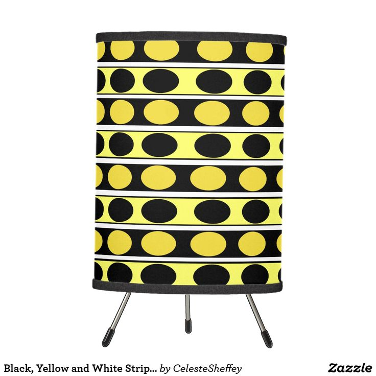 Black, Yellow and White Stripes and Polka Dots Desk Lamp
