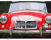 Vintage Red Car Watercolour Art Print via Etsy