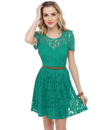 Cute Lace Dress - Teal Dress - Belted Dress - $69.00 on
