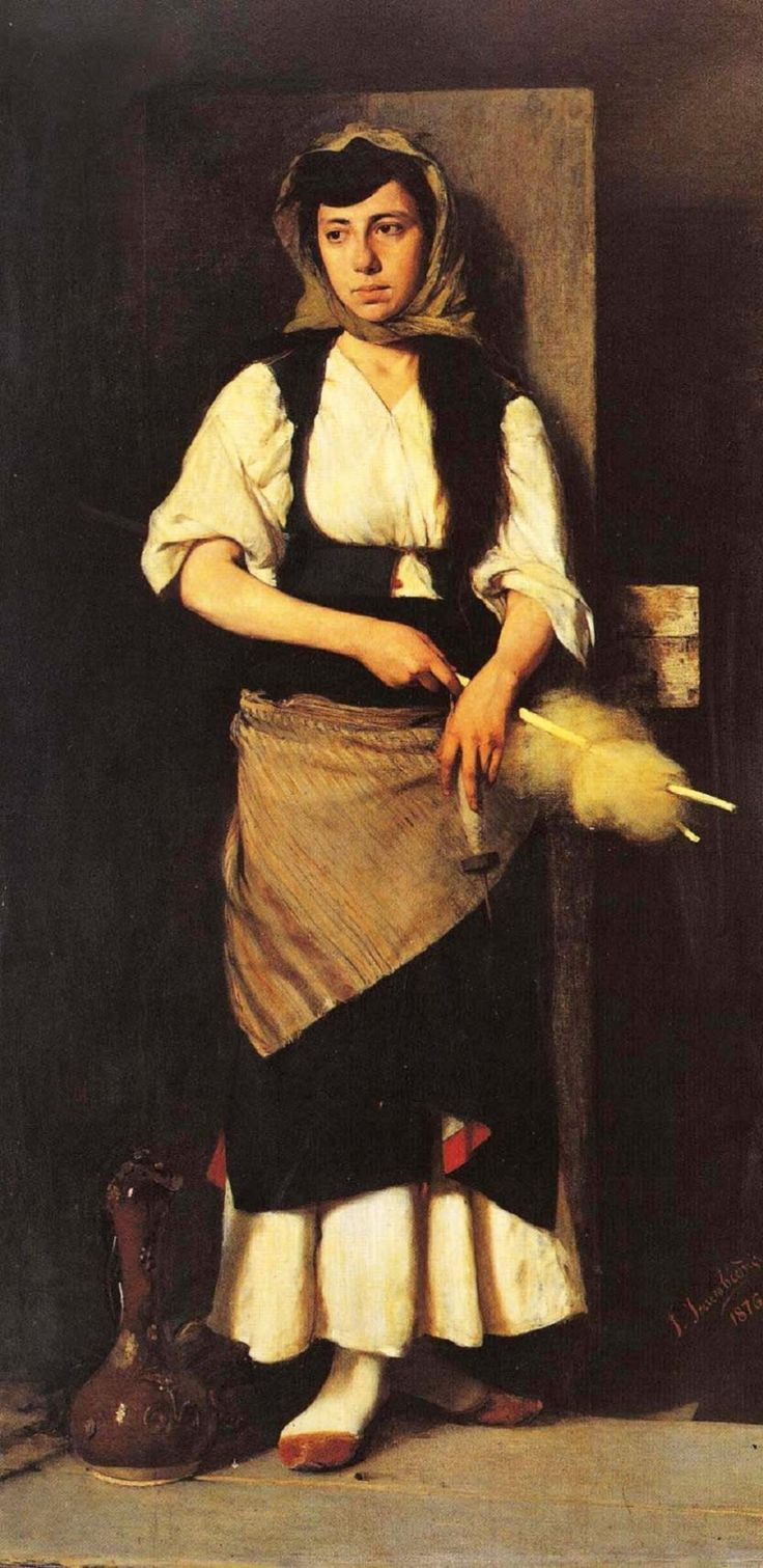 Georgios Iakovidis. A Girl. 1876......Georgios Jakobides (Γεώργιος Ιακωβίδης, Lesbos 11 January 1853 - Athens 13 December 1932)His first education was in Smyrna, Ottoman Empire. From 1870 to 1876 Jakobides studied sculpture and painting at the Athens School of Fine Arts, and in 1877 he went to the Academy of Fine Arts in Munich on a scholarship to continue his painting studies under Karl Theodor von Piloty.