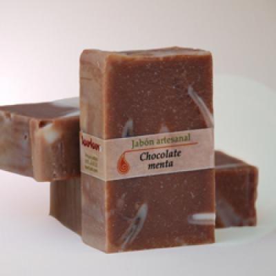 jabon artesanal de chocolate jabones artesanales aceite de oliva  y coco,manteca de cacao,aceite esencial de menta elaborado en frio