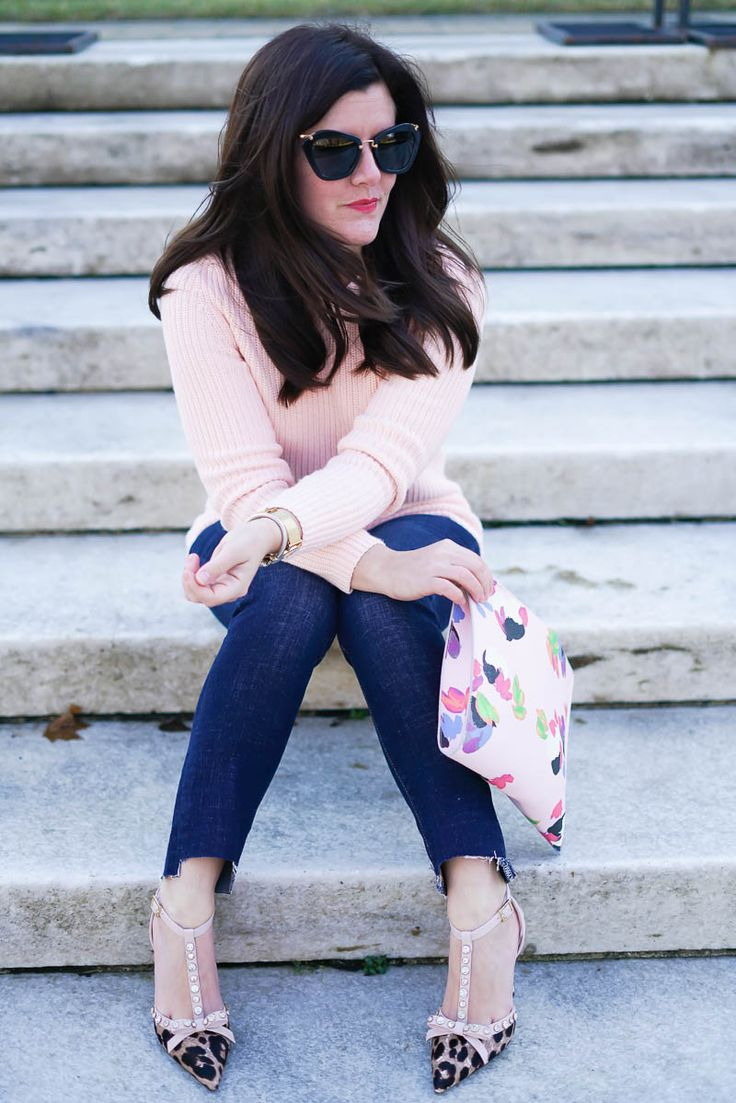 Banana Republic Friends & Family Sale, Banana Republic Lace Back Pullover Sweater, A Lily Love Affair, Kate Spade Leopard Heels, Floral clutch, Chicago Blogger, Spring Style