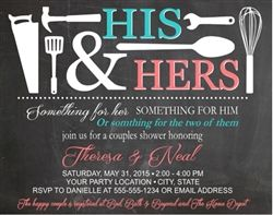 Couples bridal shower invitation, his and her bridal shower invitation