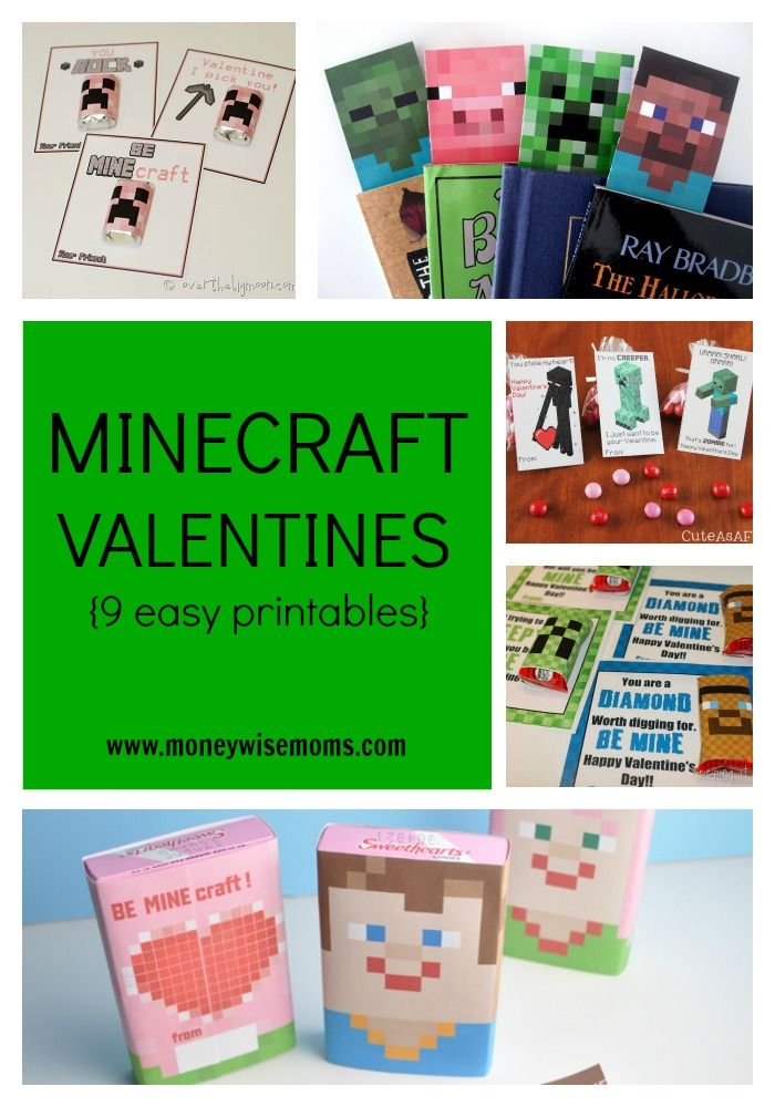 9 easy printable Minecraft Valentines, perfect for your Minecraft fan to share with friends and classmates. Bookmarks, storytellers, and candy wrappers.