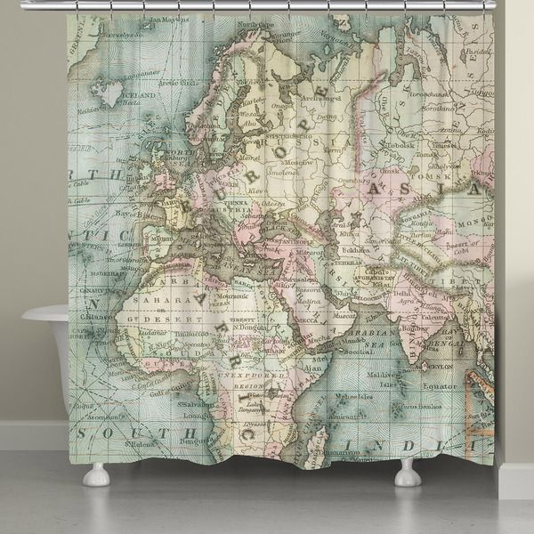 24 best vintage shower curtain images on pinterest vintage laural home vintage map shower curtain 71 inch x 74 inch sciox Gallery