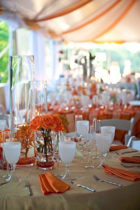 25 best ideas about orange tablecloths on pinterest for Orange centerpieces for tables