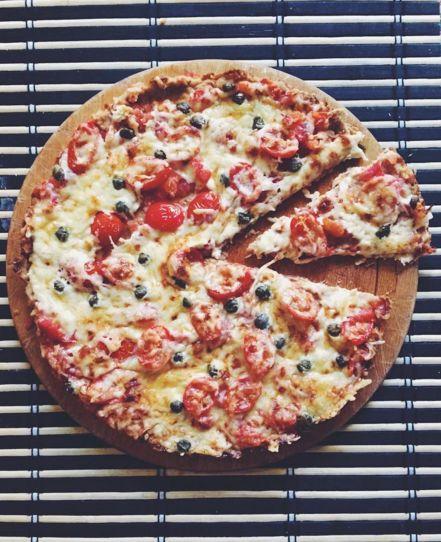 """Tonhal alapú """"szénhidrátmentes"""" pizza szelet (gltuénmentes, tejmentes, paleo)"""